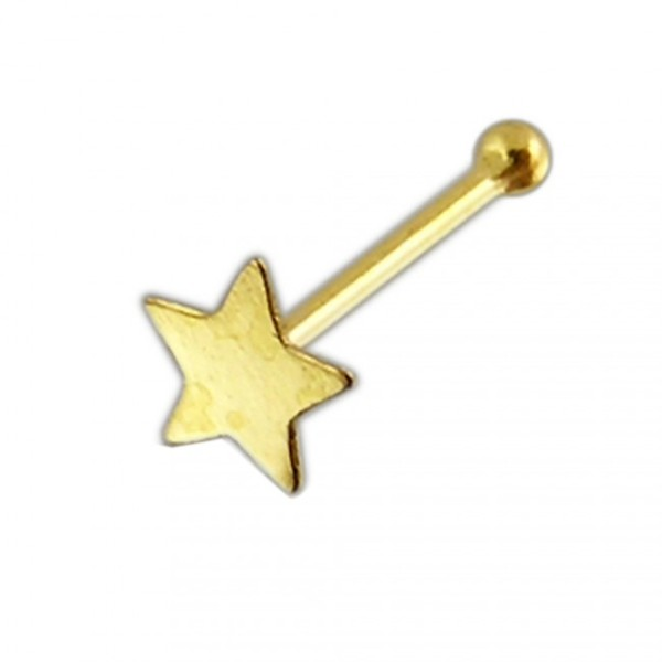 Star Nose Piercing 14 Karat Solid 585 Gold