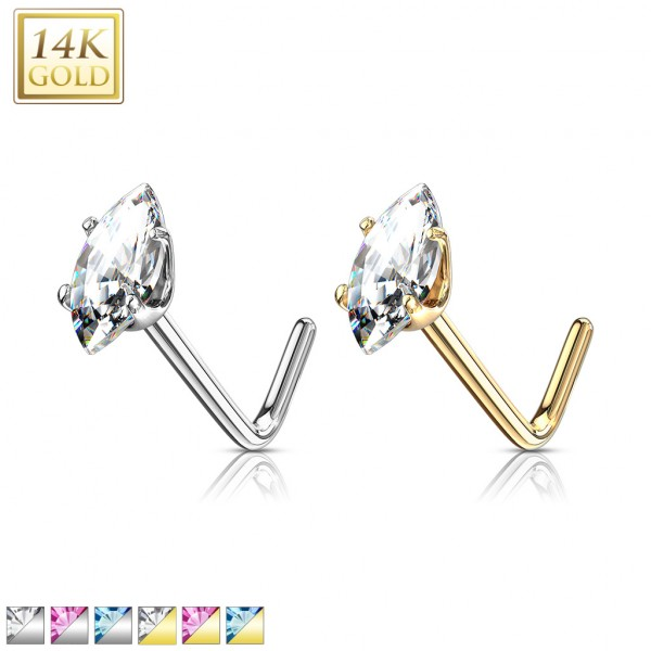 14 Kt. Gold L Bend Nose Stud Rings with Prong Set Marquise CZ