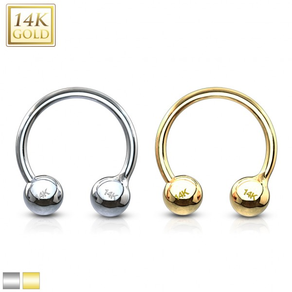 14 Karat Solid Gold Circular Barbell/Horse shoes.