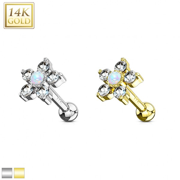 5 CZ Petals with Opal Center Flower Top 14K Gold Cartilage/Tragus Barbell