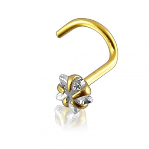 Nosering Piercing bent star 14 Karat 585 Gold
