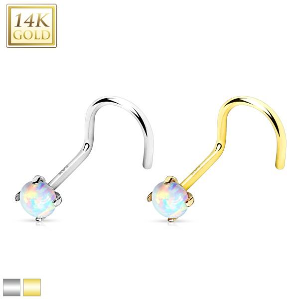 Prong Set Opal Stone Top 14K Gold Nose Screw