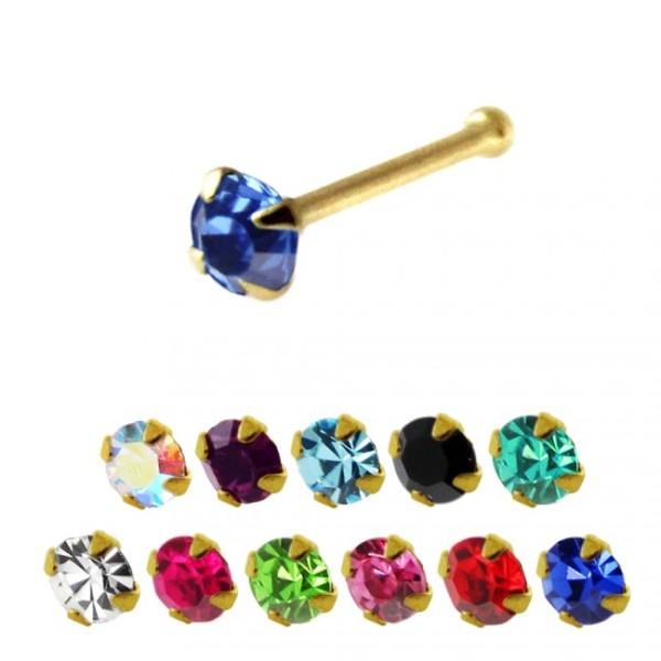 Crystal Nosepiercing 14 Karat Solid 585 Gold