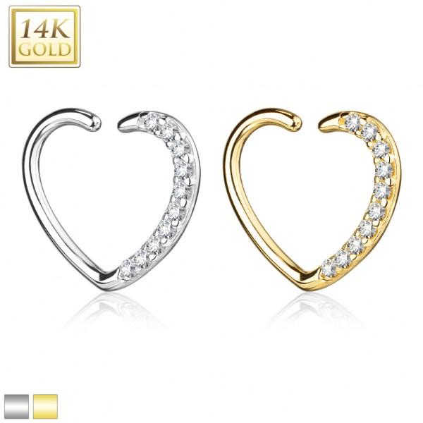 14Kt. Gold CZ Paved Heart Shape Ear Cartilage, Daith Hoop for Left Ea