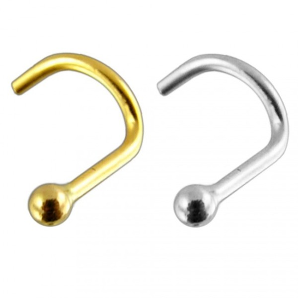Crystal Nosepiercing Screw 14 Karat Solid 585 Gold