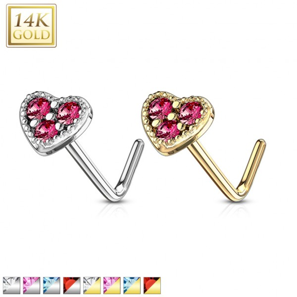 14 Kt. Gold L Bend Nose Stud Rings with 3 CZ Set Heart Top