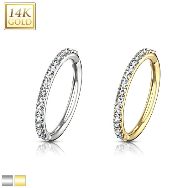 14Kt Side CZ Paved Half Circle Hinged Hoop Rings for Cartilage, Tragus, Daith and More