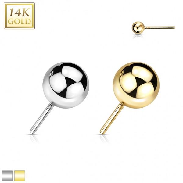 14 Karat Gold Kugel mit Push In Stab Gelgbold Weißgold