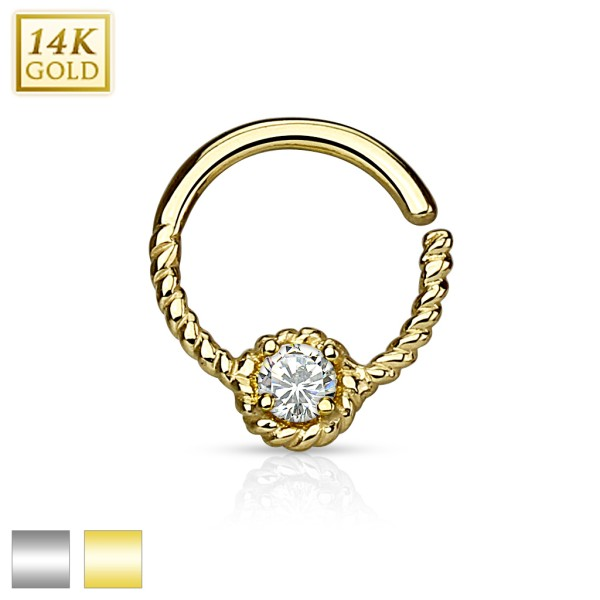 Round CZ Centered Rope Chain 14Kt. Gold Septum Ring with Bendable Round Bar