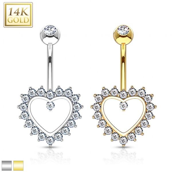 Heart Gem Paved Navel Ring 14 Karat Solid Gold