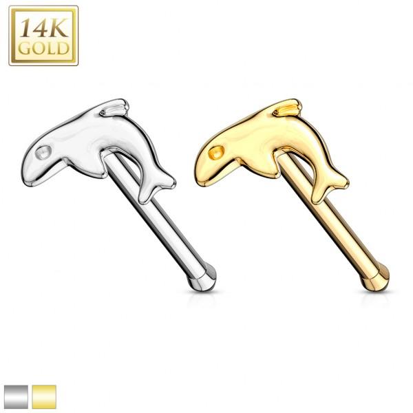Dolphin Nose Stud Ring 14 Karat Solid Gold