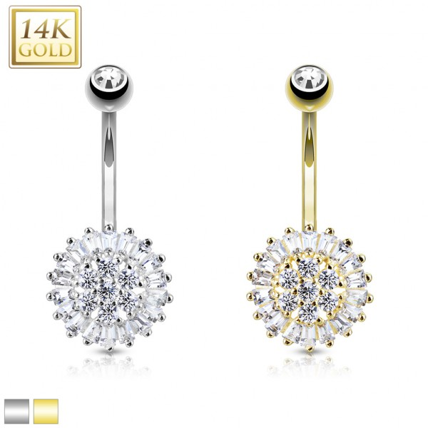 Clear CZ Sun Flower 14 Karat Solid Gold Navel Ring