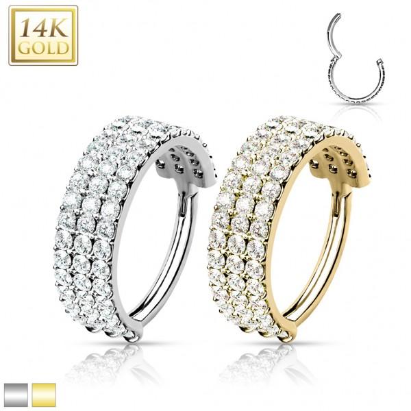 14 Karat Gold Segmentring Clicker mit drei Reihen Zirkonia Pavé 585 Gold Conch Helix Ohrpiercing