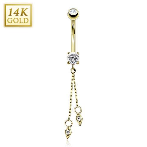 Hanging Jeweled Dangle 14 Karat Solid Yellow Gold CZ Prong Navel Ring