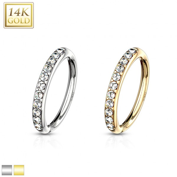 14 Kt. Gold CZ Paved Half Circle Bendable Hoop Rings For Ear Cartilage, Eyebrow, Nose and More