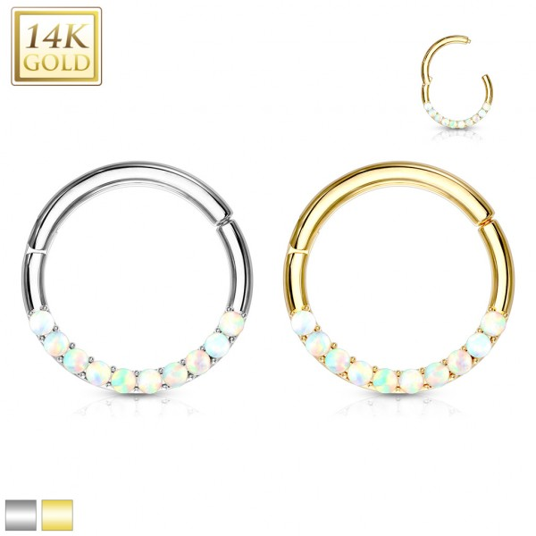 14Kt. Gold Opal Lined Set Hinged segment Hoop Rings for Nose Septum, Daith and More