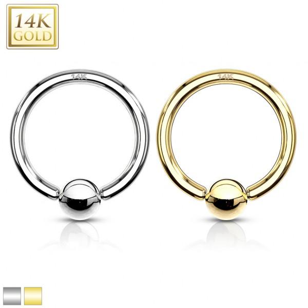 Captive Bead Ring 14 Karat Solid Gold