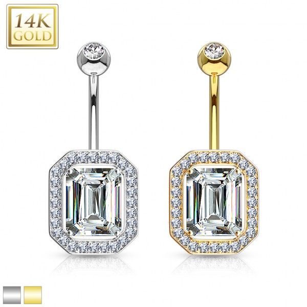 Princess Cut CZ Pronged with Multi Paved Gems Around 14 Karat Solid Gold Navel Ring