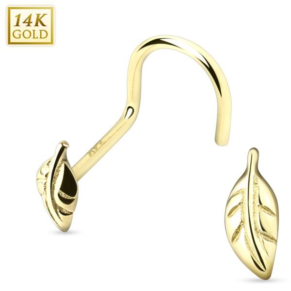 14 Karat Solid Gold Leaf Nose Screw