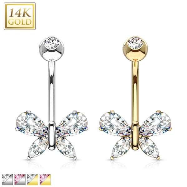 Butterfly w/ Marquise Teardrop CZ Navel Ring 14 Karat Solid Gold
