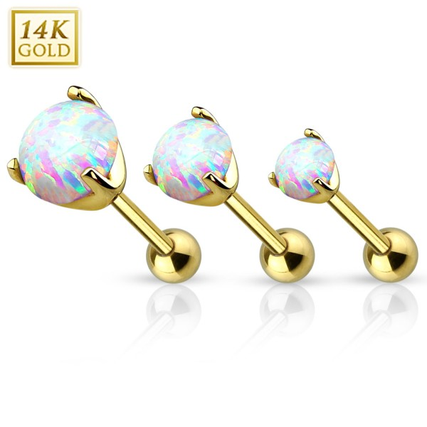 14Kt. Gold Cartilage/Tragus Barbell with Prong Set Opal Gem