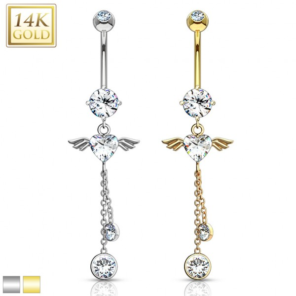 14 Karat Solid Gold Navel Ring with Angel Wing Heart CZ Dangle