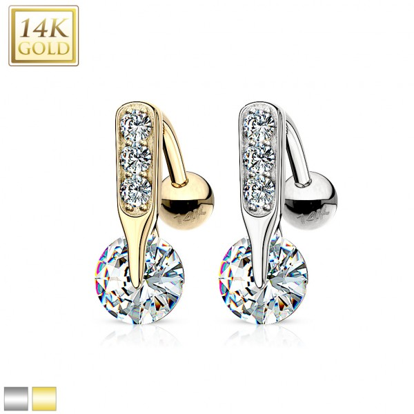14 Karat Solid Gold CZ Bar Prong Top Down Navel Ring