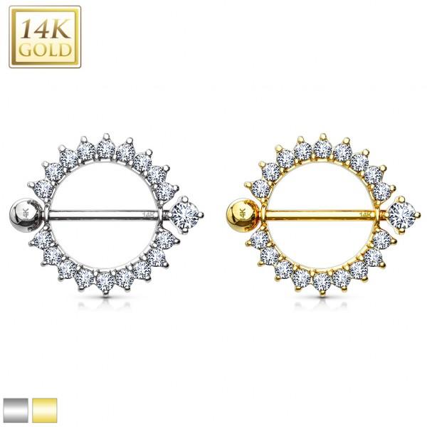 Sunburst Round Multi CZ Nipple Shield Ring 14 Karat Solid Gold