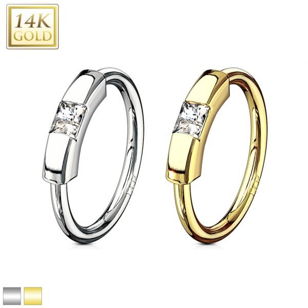 Princess Cut CZ Segment Captive Bead Ring 14 Karat Solid Gold