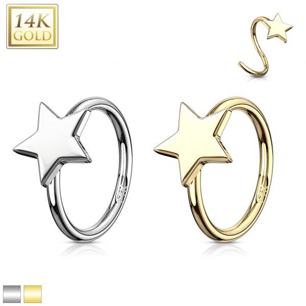 Star 14 Karat Solid Gold Hoop Ring