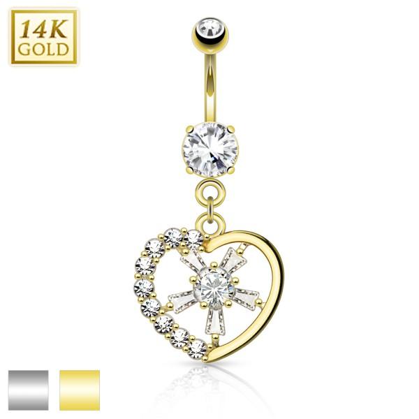 Gemmed Heart with CZ Spoke Center 14KT Gold Dangle Navel Ring