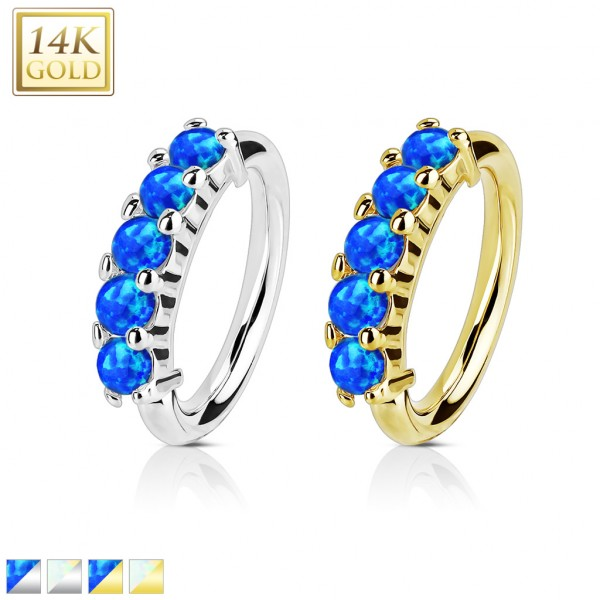 14Kt. Gold Five Opal Set OpenHoop Rings for Nose, Ear Cartilage and Lip Piercings