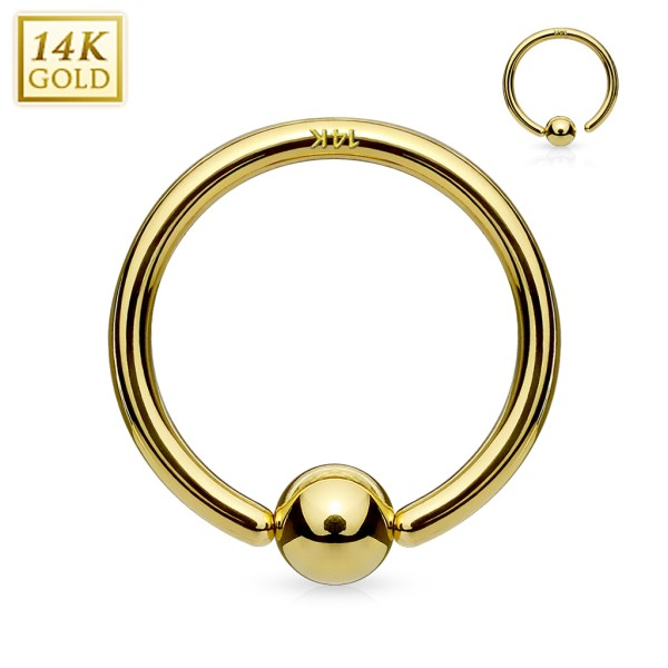14Kt. Gold Fixed Ball Hoop Ring. Never Loose a Ball.