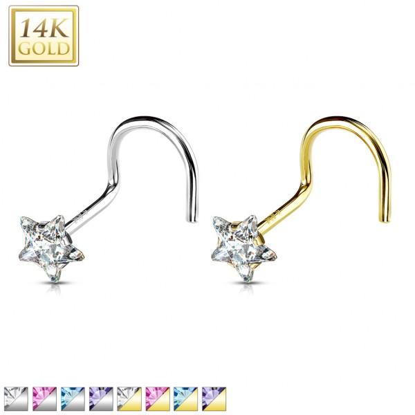 Star Prong CZ Nose Screw Ring 14 Karat Solid Gold