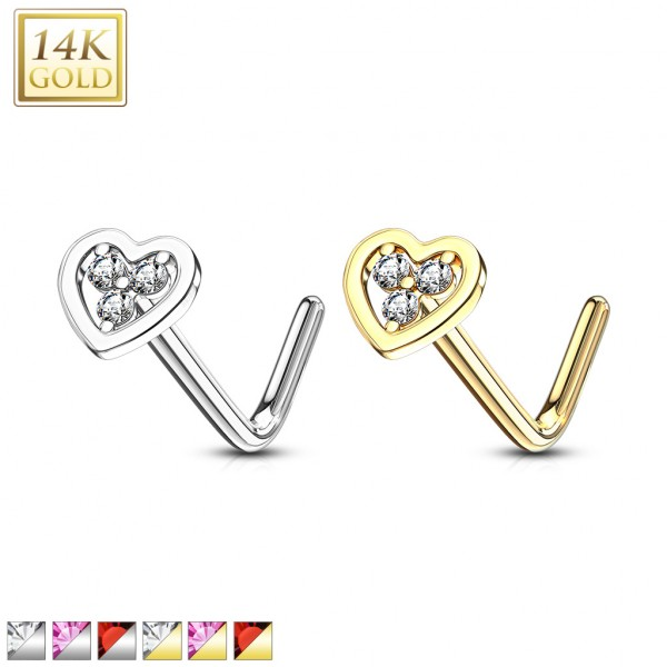 14Kt. Gold L Bend Nose Ring with Tri Stacked Round CZ Center Hollow Heart