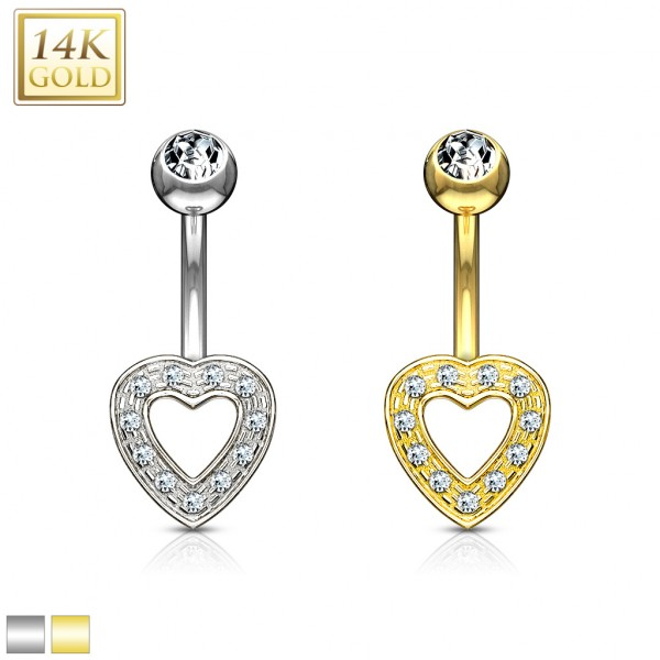 Heart Charm Clear CZ 14 Karat Solid Gold Navel Ring