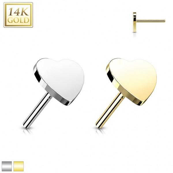14 Karat Gold Herz flach mit Push In Stab Gelgbold Weißgold