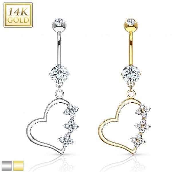 Triple CZ Flower Heart Dangle 14 Karat Solid Gold Navel Ring