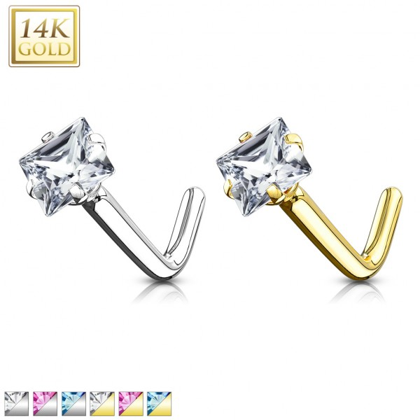 14Kt. Gold L Bend Nose Ring with Prong Set Square CZ