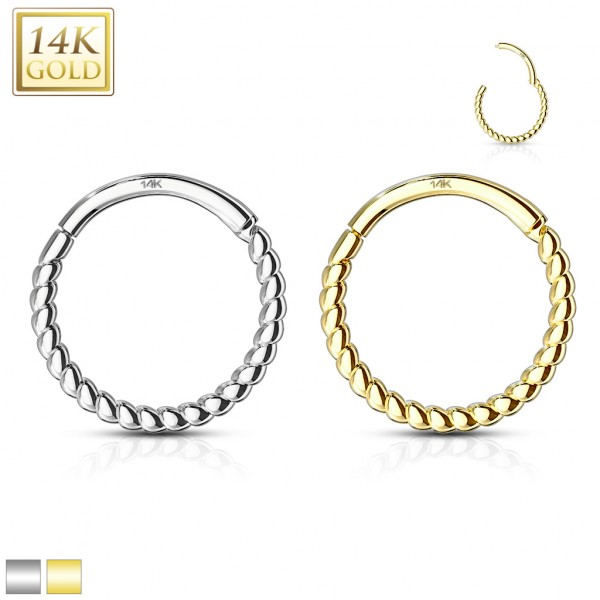 14 Kt. Solid Gold Braided Hinged Hoop Rings for Ear Cartilage, Nose Septum and More