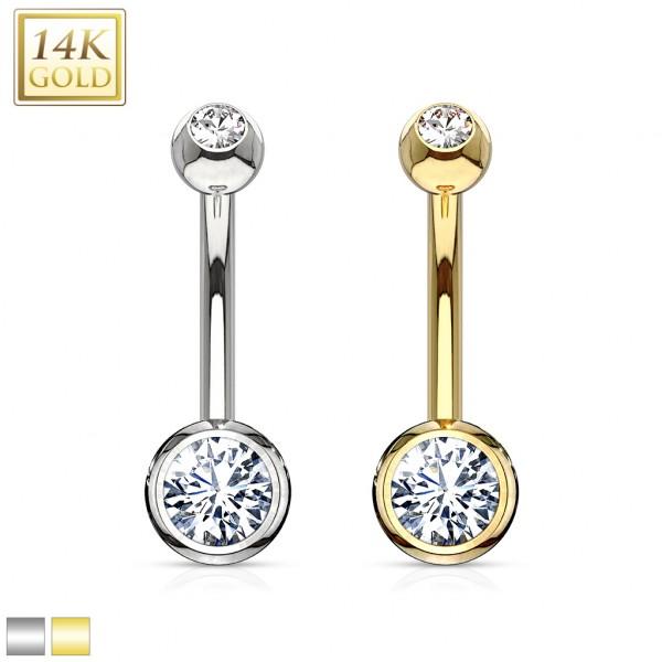 Double Gemmed 14 Karat Solid Gold Navel Ring