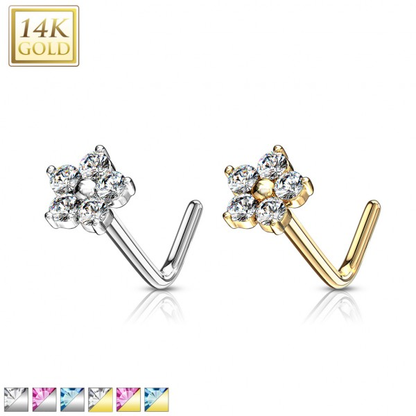 14 Kt. Gold L Bend Nose Stud Rings with CZ Flower Top