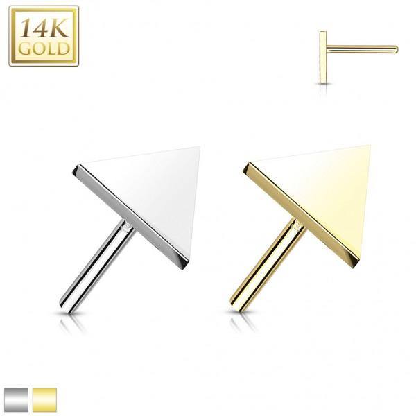14 Karat Gold Dreieck flach mit Push In Stab Gelgbold Weißgold