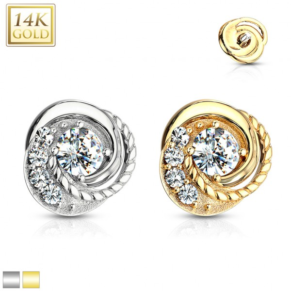 14 Kt. Double Tiered CZ Center Swirl with CZ Accented Dermal Anchor Top
