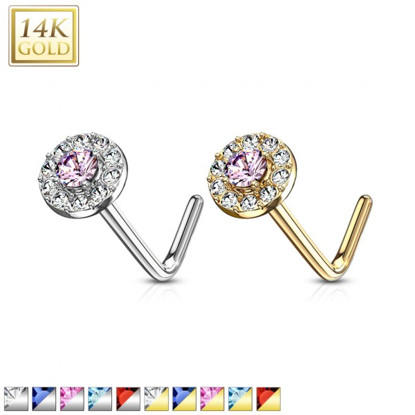 14 Kt. Gold L Bend Nose Stud Rings with Double Tier CZ Paved Round Top
